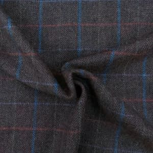 Checkered diagonal twill wool brown